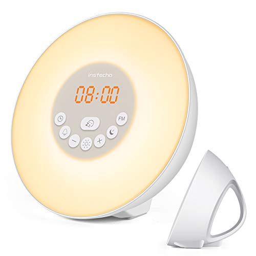 - instecho Sunrise Alarm Clock, Digital Clock, Wake Up Light with 6 Nature Sounds, FM Radio and Touch Control (White) …