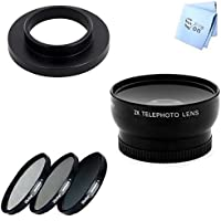 GoPro Hero 3 and Hero 3+ Telephoto Lens and 3 Piece Filter Kit with Adapter 37MM