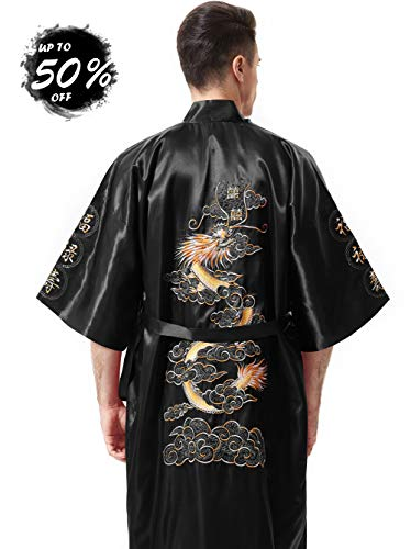 MORCOE Men's Chinese Dragon Embroidered Satin Kimono Yukata Long Robe Soft Loungewear Nightgown Pajamas with Pockets Gift (Style2 Black(one-Side ()