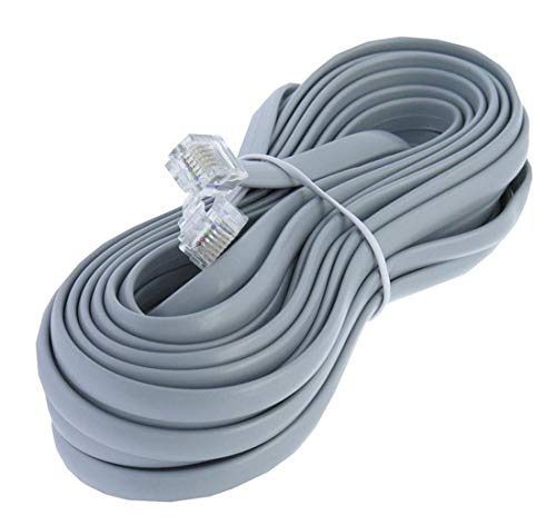 25ft Heavy Duty RJ12 Silver Satin 6 Conductor 6P/6C Telephone Line Cord by Corpco ()