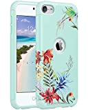 ULAK Case for iPod Touch 5 & 6, Slim Fit Protective Hybrid Dual Layer Soft Silicone and Hard Back Cover for Apple iPod Touch 5/6th Generation,(Mint+Tropical Flower)