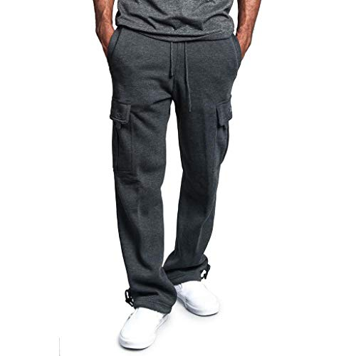 (TIANMI Men's Training Trousers,Casual Jogger Heavy Weight Fleece Cargo Multi Pocket Sport Work Trouser Pants Dark)
