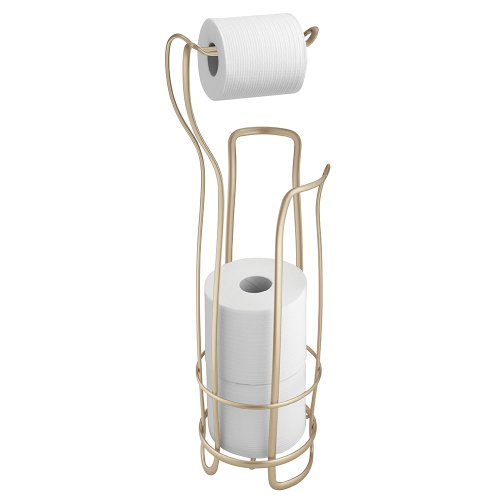 InterDesign Axis Free Standing Toilet Paper Holder for Bathroom - Pearl Champagne
