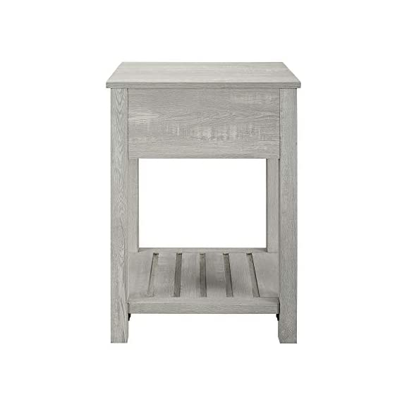 Walker Edison Furniture Company Farmhouse Square Side Accent Set Living Room End Table with Storage Door Nightstand Bedroom, 18 Inch, Stone Grey - 1 drawer farmhouse style nightstand Painted metal half circle handle Open and closed storage - nightstands, bedroom-furniture, bedroom - 41Eh4VnURKL. SS570  -