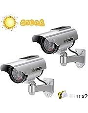 Cámara Falsa Cámara de vigilancia Falsa simulada con Bala Solar Cámara Domo CCTV de Seguridad con luz LED Intermitente para Exteriores Interiores hogar Negocios
