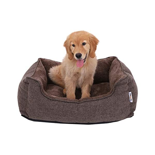FEANDREA Washable Plush Dog Bed with Removable Cover, Dog Sofa, Brown PGW10CC 1