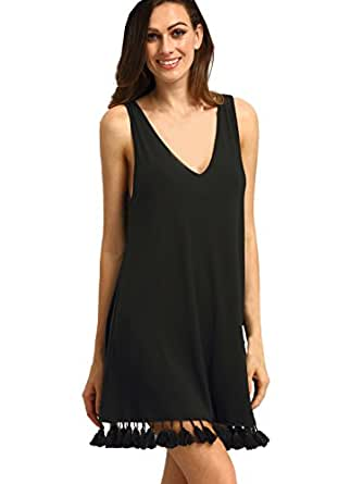ROMWE Women's Summer Casual Sleeveless Tassel Dress Tunic Swing Dress Black XS