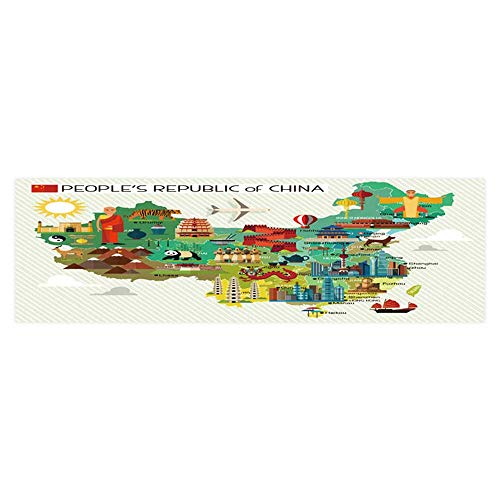(Dragonhome Background Fish Tank Sticker map of China and Travel Icons China Travel map Vector PVC Paper Cling Decals Sticker L29.5 x H11.8)
