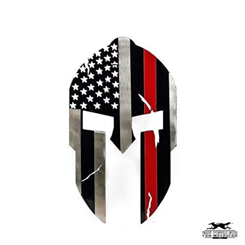 Fox MetalFab Powder Coated Steel Spartan Trailer Hitch Cover (Red Stripe Flag)