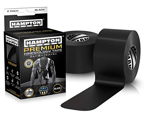 Kinesiology Tape for Physical Therapy Sports Athletes – Latex Free Elastic, 16ft Water Resistant Kinetic Uncut Kinesio Tape for Knee Pain, Elbow and Shoulder Muscle & Plantar Fasciitis (2-Pack, Black)