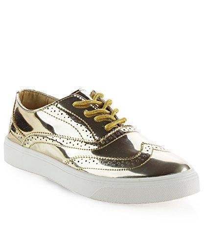 ROF Women's Fashion Metallic Saddle Shiny Lace Up Flatform Oxford Shoes GOLD (Lace Up Platform Saddle Shoe)
