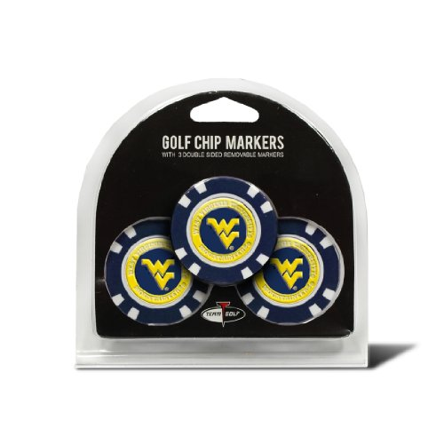 Team Golf NCAA West Virginia Mountaineers Golf Chip Ball Markers (3 Count), Poker Chip Size with Pop Out Smaller Double-Sided Enamel Markers