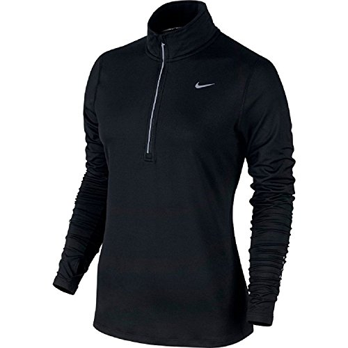 (Nike Women's Element Half-Zip Running Top Black/Reflective Silver Size Medium)