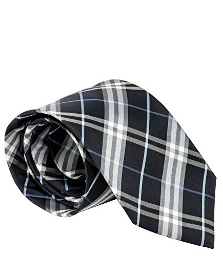 Burberry London Mens Necktie Classic Diagonal Stripe Pattern Wide Cut Silk Tie (Check Blue)