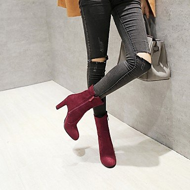 DESY Damen Schuhe Beflockung Herbst Winter Komfort Stiefel Blockabsatz Runde Zehe Reißverschluss Für Schwarz Wein Leicht Rosa black