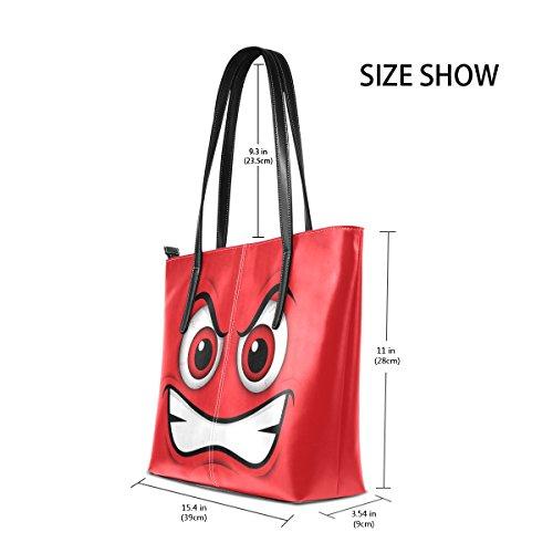 COOSUN Emoji Red Mad Emoticon Cartoon PU Leder Schultertasche Handtasche und Handtaschen Tasche für Frauen