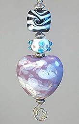 Large Purple Cloud Glass Heart, Baby Blue Dot Sputnik Bead & Zebra Striped Black and White Lampwork Glass Ceiling Fan Pull Chain