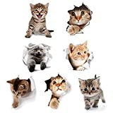 interesting kidsroom wall mural Cieovo 3D Removable Cats Large Wall Stickers Decals Cute Animal Wall Sticker Mural for Kids Cute Cat Decor Posters for Nursery Room, Toilet, Kitchen, Offices A Set of 7