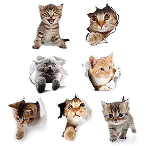 Cieovo 3D Removable Cats Large Wall Stickers Decals Cute Animal Wall Sticker Mural for Kids Cute Cat Decor Posters for Nursery Room, Toilet, Kitchen, Offices A Set of 7