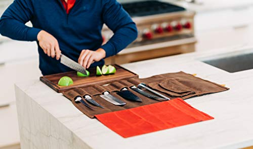 Chef's Knife Roll Bag Durable Waxed Canvas Carrier Stores 8 Knives PLUS Detachable Storage Unit for Culinary Accessories | Portable Chef Knife Case with Leather Shoulder Strap | Knives not Included by Katana Chef (Image #2)