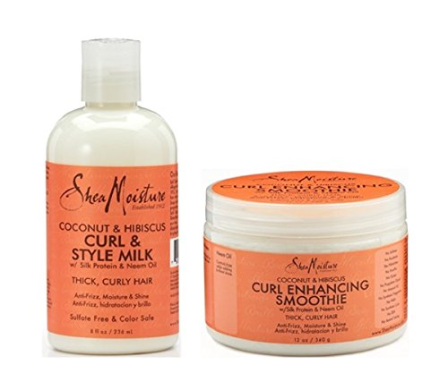 Price comparison product image Shea Moisture Coconut and Hibiscus Combination Pack – 8 oz. Curl & Style Milk & 12 oz. Curl Enhancing Smoothie