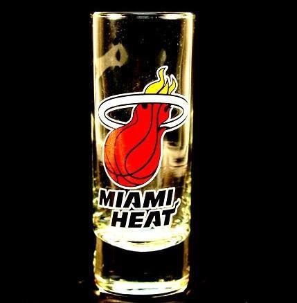 Heat Miami Glass - Miami Heat NBA Licensed Glass Cordial Logo Hype Shot Glass (2 Oz.) Team Logo