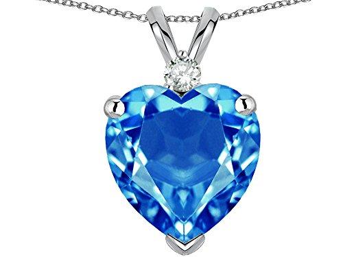 White Topaz Family Pendant - Star K 8mm Heart Shape Genuine Blue Topaz Heart Pendant Necklace 14 kt White Gold