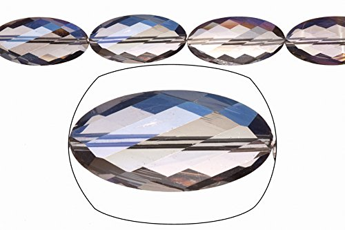 Crystal Bead, Center-drilled Twisted Oval Faceted Plate, Fire Vitrail, 15x30mm