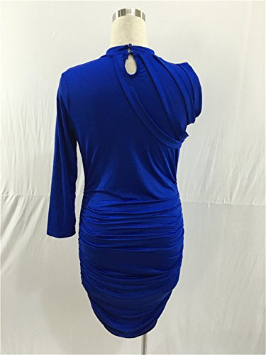 Nightclub Package Color Womens Hip Midi Clubwear Blue Sleeve Solid Sexy Half Didala Dress Irregular xXB0qf7qn