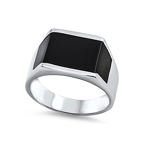 Noureda Stainless Steel Rectangle Shaped Band with Black IP Ring, Face Width of - Shaped Face Rectangle