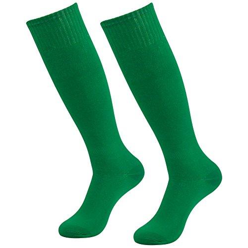 Long Tube Soccer Socks, Diwollsam Boys Girls 2 Pairs Green Lightweight Comfy Breathable Casual School Uniform Sports Volleyball Football Knee High Socks]()