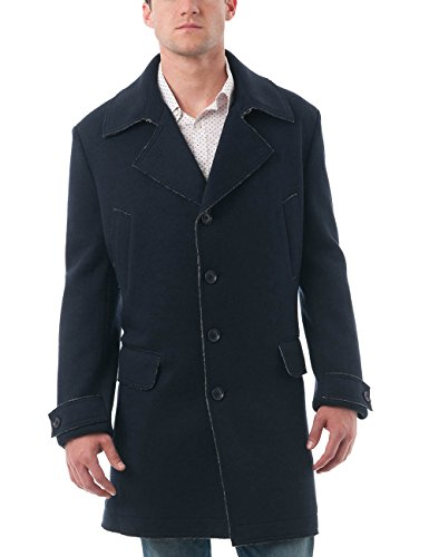Chama Men's Wool Blend Winter Overcoat Classic Fit Jacket Pea Coat Car Coat (Navy, XXXXL)