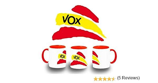 MERCHANDMANIA Taza ROJA Partido VOX Bandera ESPAÑOLA Color mug ...