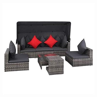 HomyDelight Outdoor Furniture Set, Outdoor Sofa Set 23 Pieces Poly Rattan Gray