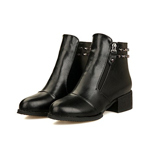 A&N Womens Square Heels Rivet Round Toe Imitated Leather Boots Black Vf3s7