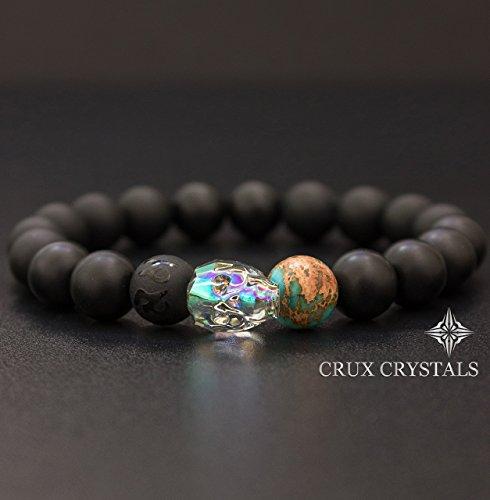 Necklace Onyx Jasper - Men's Swarovski Crystal Skull Bracelet Crux Crystals Gemstone Bracelet Matt Black Onyx Blue Emperor Jasper Stretch Bracelet Gift for Him