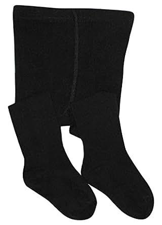BEAR MUM Baby Girls' Seamless Organic Cotton Tights Black 0-6Month