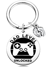 MIXJOY New Expecting Dad First Time Father's Day, Daddy to be, Soon to be New Dad Announce Pregnancy, Dad Level Unlocked Key Chain with Baby Footprint Charm