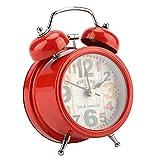 Garosa Reloj de Alarma Campana centelleante portátil Inicio Campana de Metal silenciador con Luces Clásica Reloj de Alarma Antiguo Accesorio de Dormitorio para Dormitorio