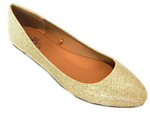 (Shoes 18 Womens Ballerina Ballet Flat Shoes 8600 Gold Glitter 11)