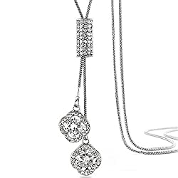 Crystal Flower Tassel Long Pendant Chain