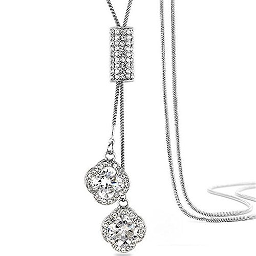 (Z-Jeris Women's Crystal Flower Jewelry Tassel Pendant Long Chain Necklace (Silver))