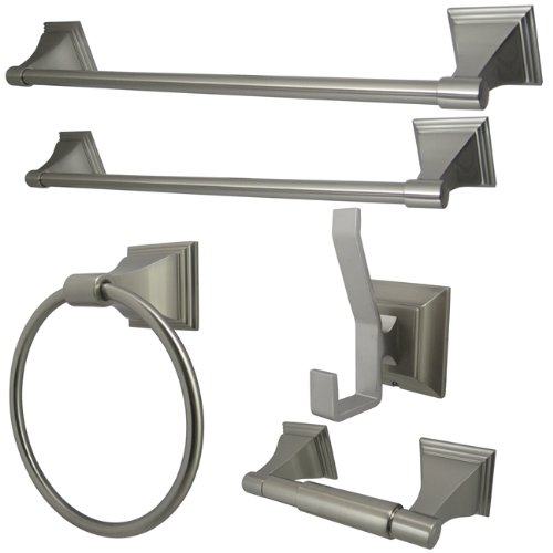 Kingston Brass BAHK61212478SN 18-Inch and 24-Inch Towel Bar, 6-Inch Towel Ring, Toilet Paper Holder and Robe Hook Monarch Bathroom Accessories, 5 Piece in Set, Satin Nickel by Kingston Brass