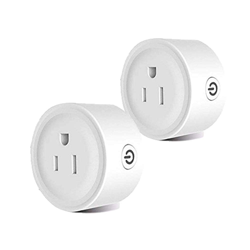 Smart Plug 2 Pack Mini WiFi Wireless Socket Outlet Plug Works with Amazon Alexa Google Home No Hub Required, White