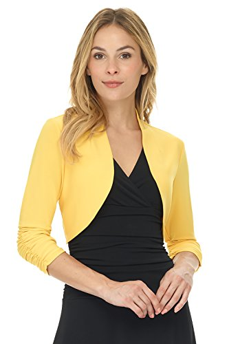 (Rekucci Women's Chic Soft Knit Stretch Bolero Shrug with Ruched Sleeves)