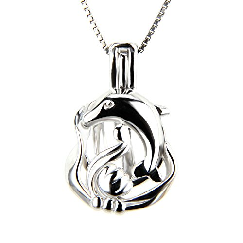 NY Jewelry 925 Sterling Silver Dolphin Cage Locket Pendant for Pearl Jewelry, Pearl Cages for Women and Girls