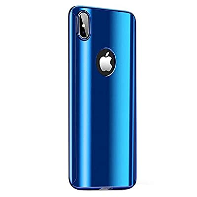 Fantasydao Compatible/Remplacement for iPhone XR Case + Screen Protector 2 in 1 Plating Hard PC Mirror 360° Full Body Protection Ultra Thin Cover for i Phone XR (Blue): Toys & Games
