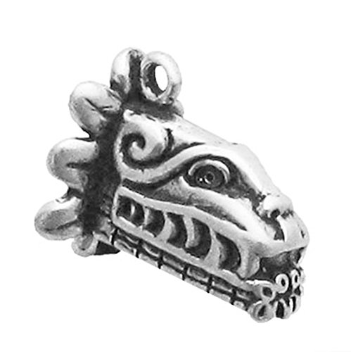 925 Sterling Silver Mayan Icon, Chac Dragon Head Face Charm For Bracelet/Necklace
