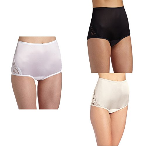 Vanity Fair Women's Perfectly Yours Lace Nouveau Brief Panty 13001, Star White/Midnight Black/Fawn, 4X-Large/11