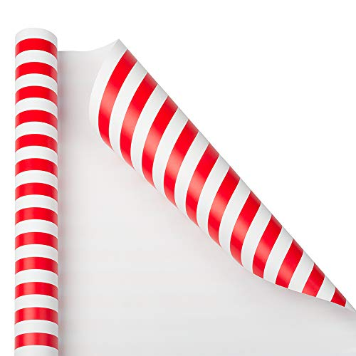 JAM PAPER Gift Wrap - Striped Wrapping Paper - 25 Sq Ft - Red & White Stripes - Roll Sold Individually (Christmas Gift Wrap Stripe)